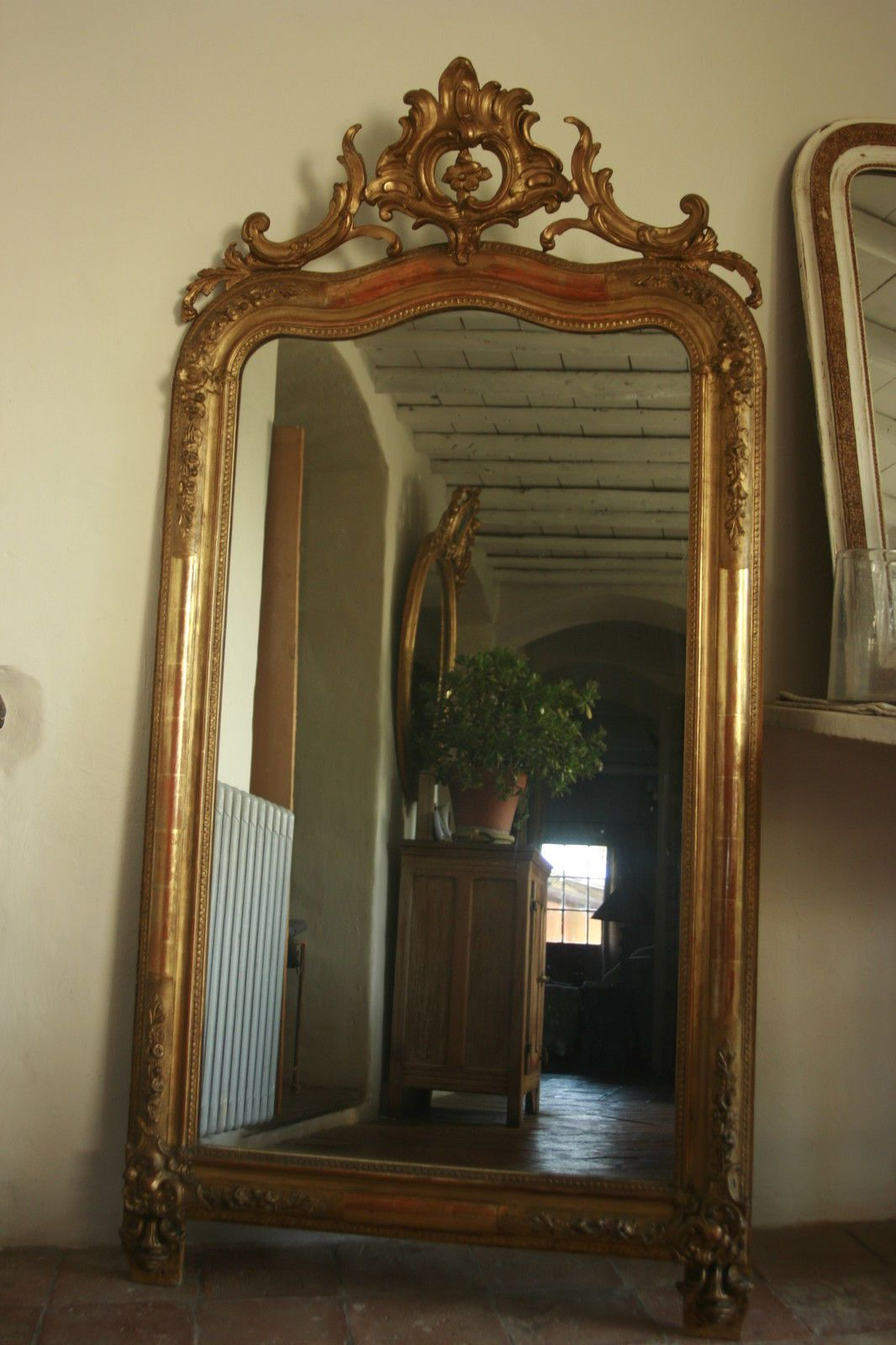 174x86 grand miroir ancien louis philippe dore a la for Grand miroir