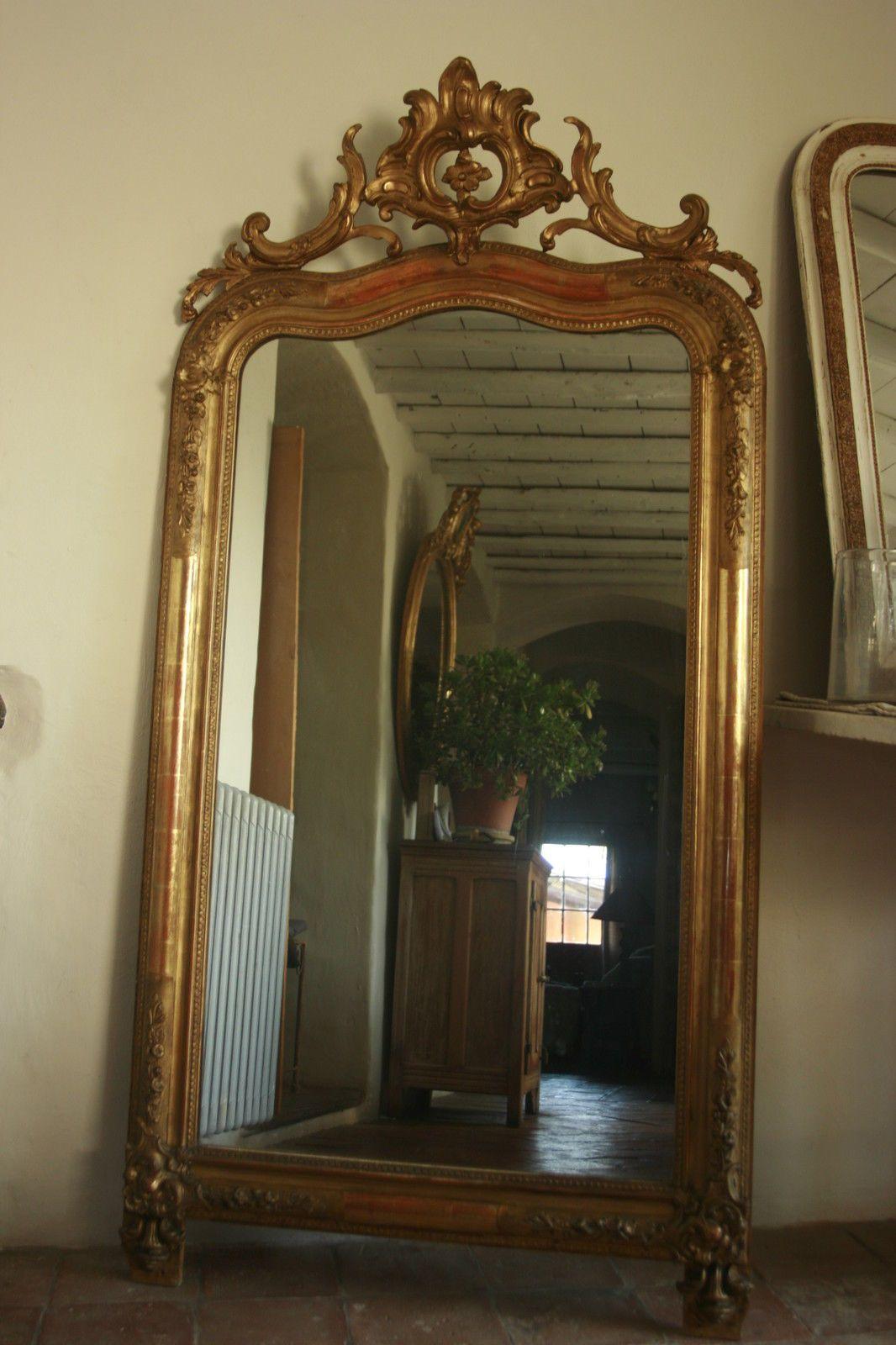 174x86 grand miroir ancien louis philippe dore a la feuille ebay miroirs lustre brocante. Black Bedroom Furniture Sets. Home Design Ideas