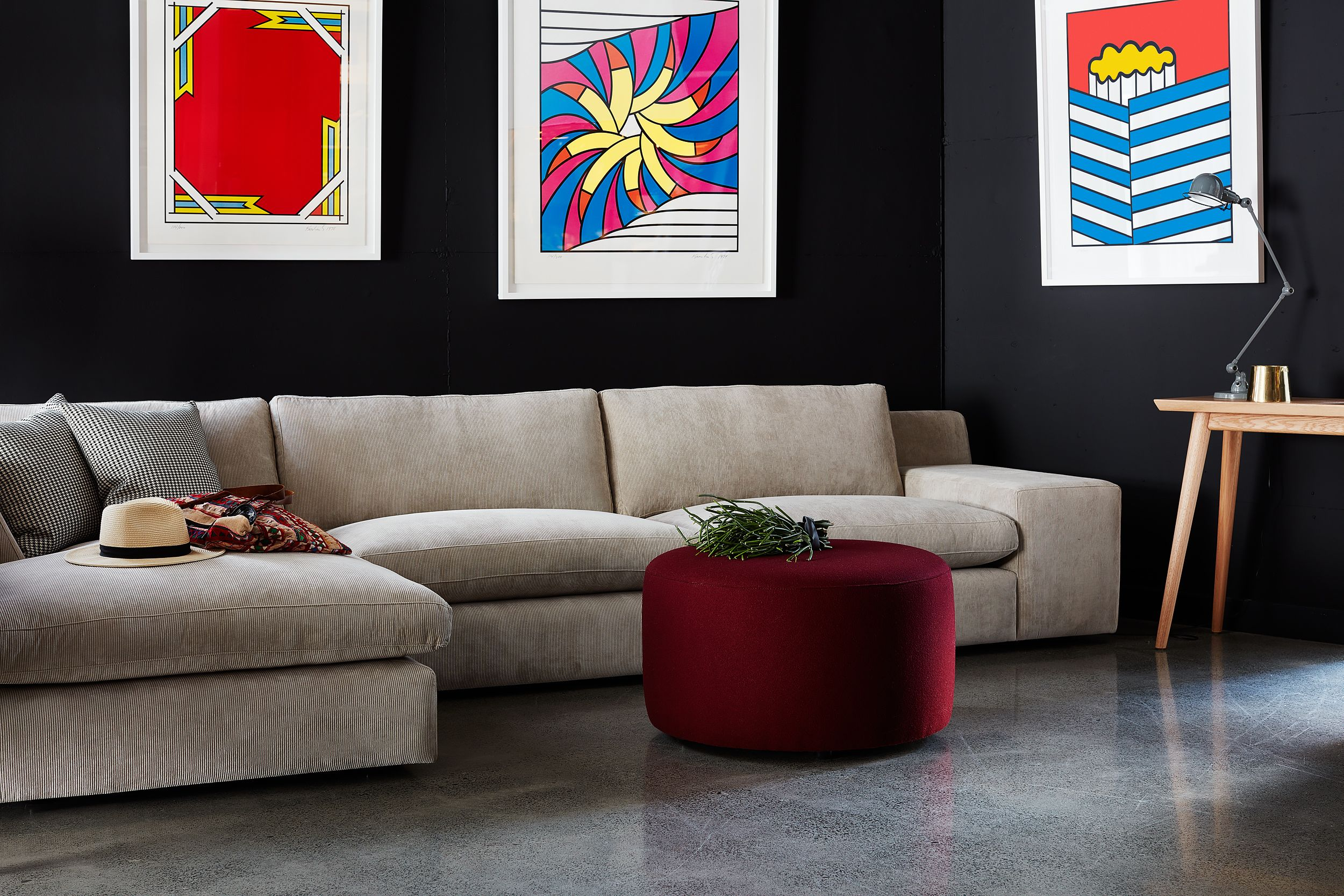 Gary Sofa with Chaise Round Boxed Ottoman and Reuben Console by
