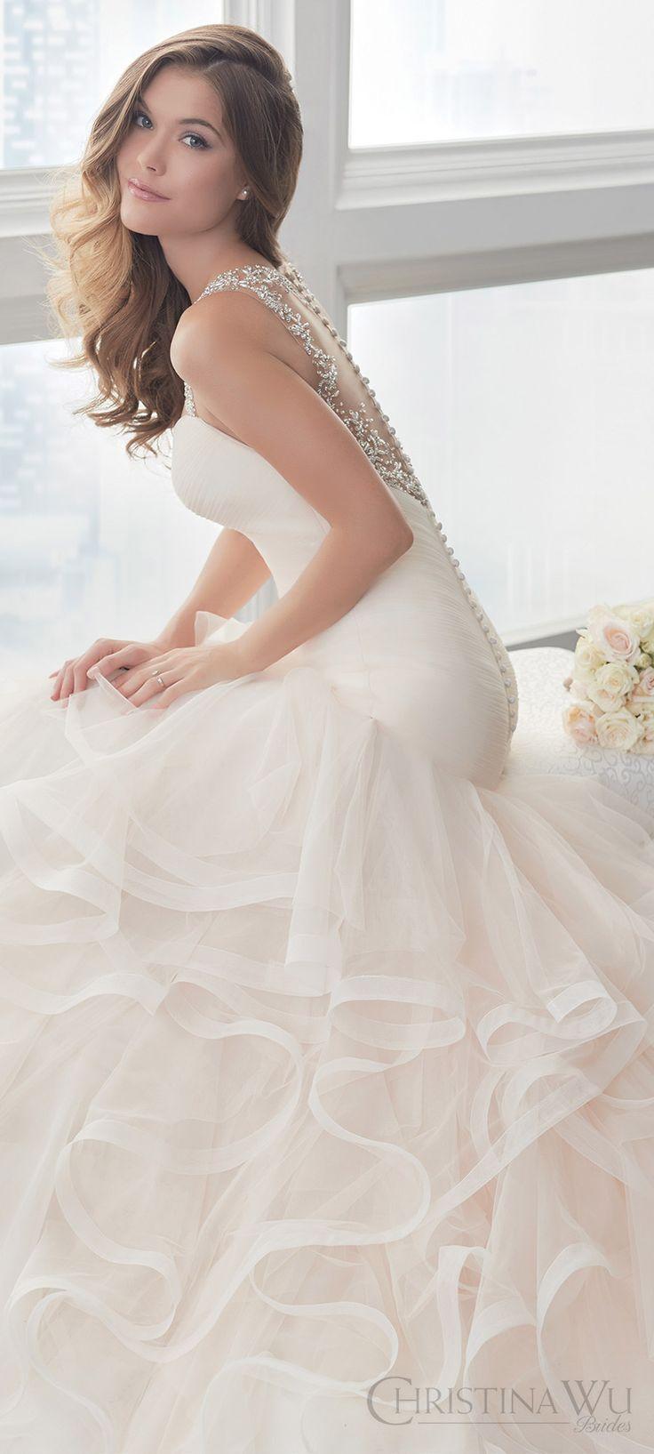 Wedding dresses with ruffles on skirt  christina wu brides spring  bridal sleeveless beaded straps