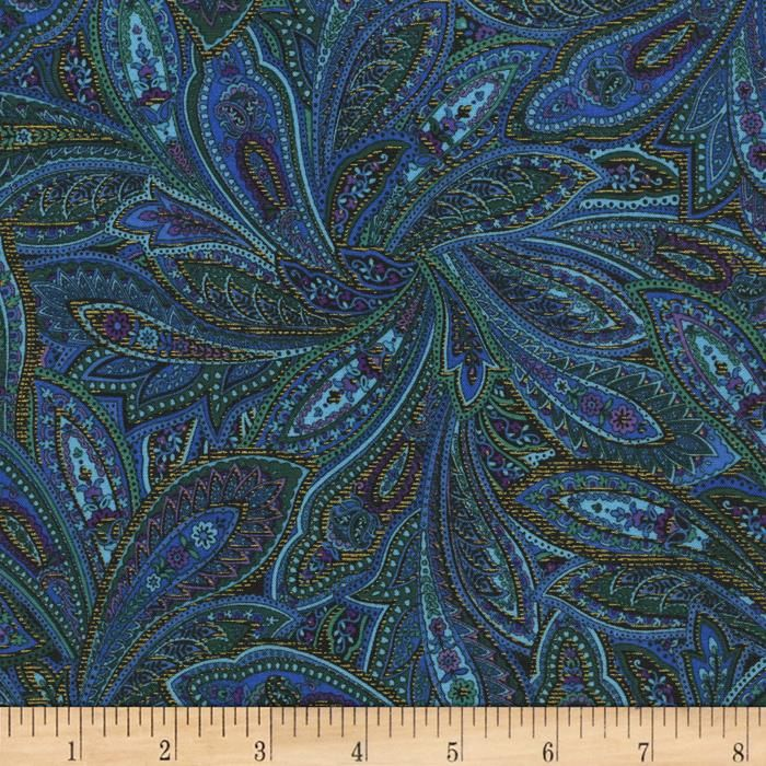 Timeless Treasures Tapestry Metallic Paisley Peacock from @fabricdotcom  Designed by Chong-A Hwang for Timeless Treasures, this fabric is perfect for quilting, craft projects, apparel and home decor accents. Colors include shades of blue, green, purple and navy with gold metallic accents.