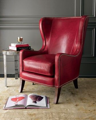Massoud Red Leather Chair   Horchow (again, Too Red?