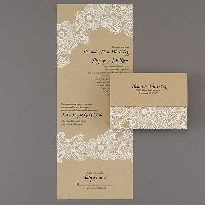 Lacy accents seal n send wedding invitation 40 off http lacy accents seal n send all the romance of white lace makes this affordable kraft paper seal n send wedding invitation perfect for your rustic filmwisefo