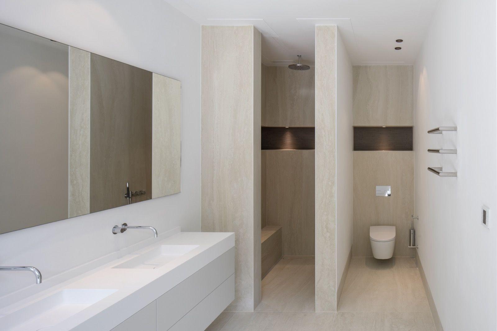 Inloopdouche Met Wastafelblad : Travertin badkamer wastafel betonlook tegels badkamer elegant
