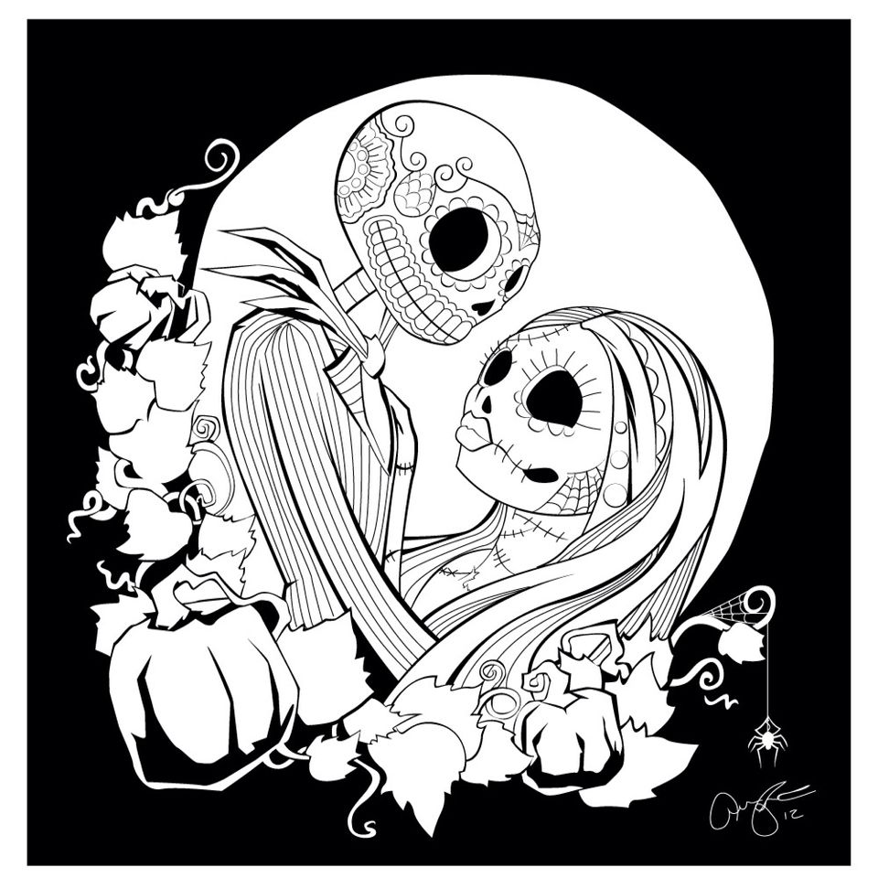 Jack sally Christmas coloring pages, Skull coloring