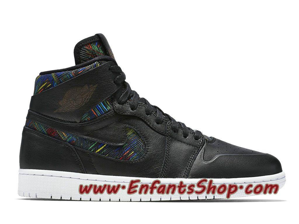 Air Jordan 1 Retro High Nouveau BHM Chaussures Baskets Jordan Pas Cher Pour  Homme Noir 836749