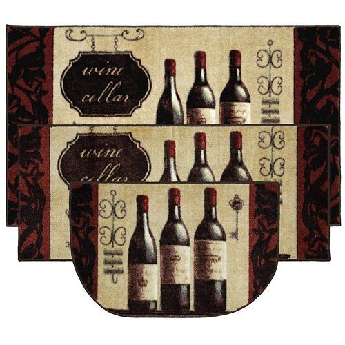 wine decorations for kitchen | Shop wine decor kitchen rug ...