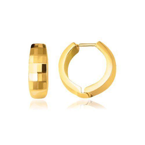My Jewel Company 14k Two Tone Gold Reversible Checkered Hinged Hoop Huggie Earrings