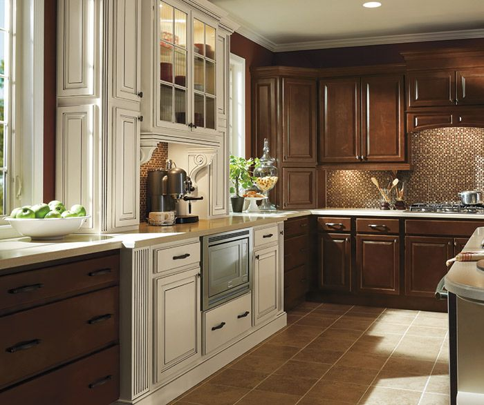 Dark Maple kitchen cabinets in Bison finish with Ivory accents ...