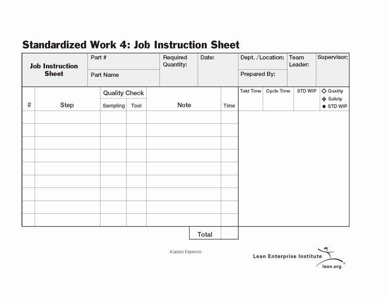 Standardized Work Instruction Template New Standardized Work Job Instruction Sheet Lean Enterprise Business Template Templates