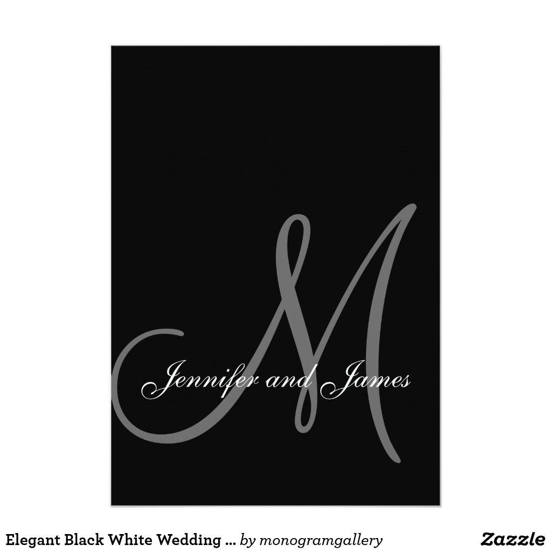 Elegant Black White Wedding Invitations Initial | Elegant Wedding ...