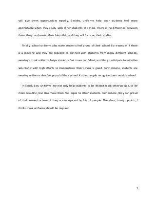 School Uniform Essay Writing Help Persuasive On Uniforms