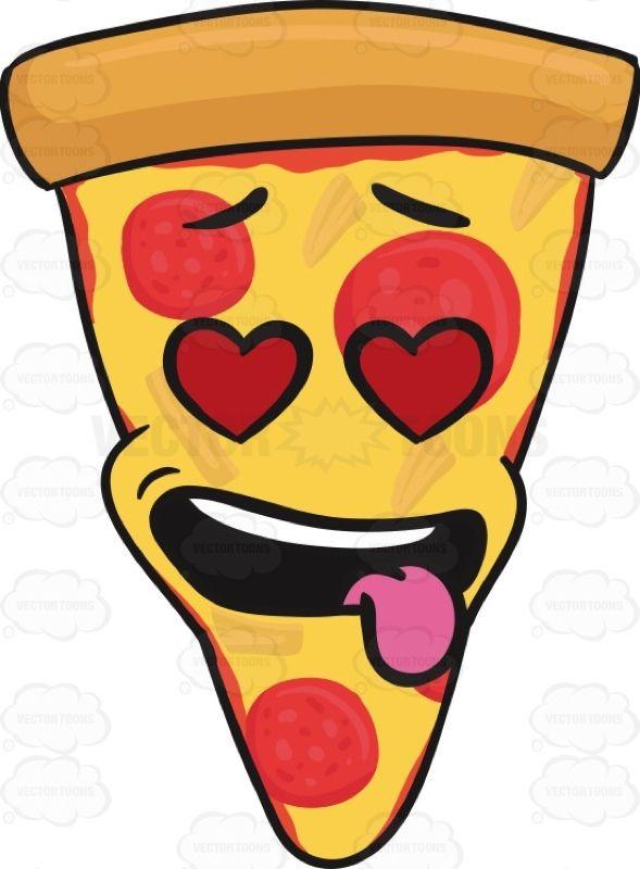 Love Struck Slice Of Pepperoni Pizza With Hanging Tongue Emoji Pizza Art Cute Pizza Pizza Emoji