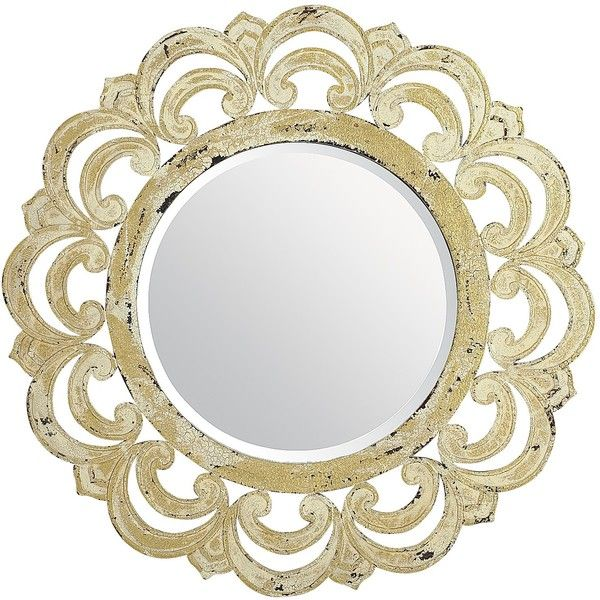 "Pier 1 Imports Ornate Wood Framed 32"" Round Mirror ($120) ❤ liked on Polyvore featuring home, home decor, mirrors, ivory, pier 1 imports, antique white mirror, round wood mirror, wooden mirror and wood mirror"