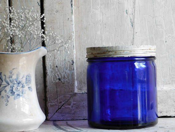 Vintage Cobalt Blue Noxzema Jar With White Lid Blue Glass Antique Glassware Blue Glass Vintage