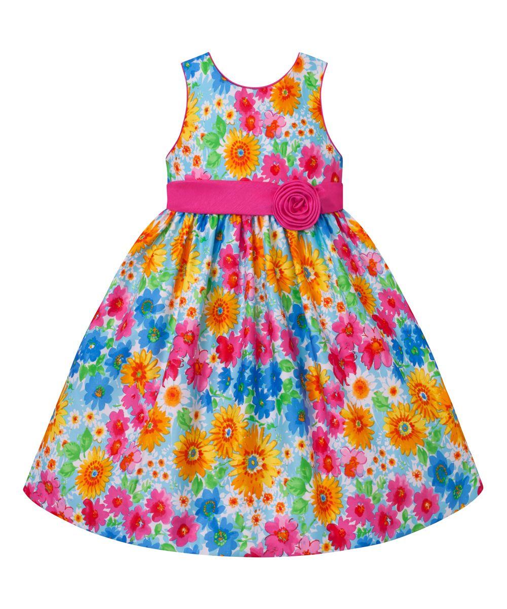 526ffd688 Blue   Pink Floral Sash A-Line Dress - Infant Toddler   Girls ...