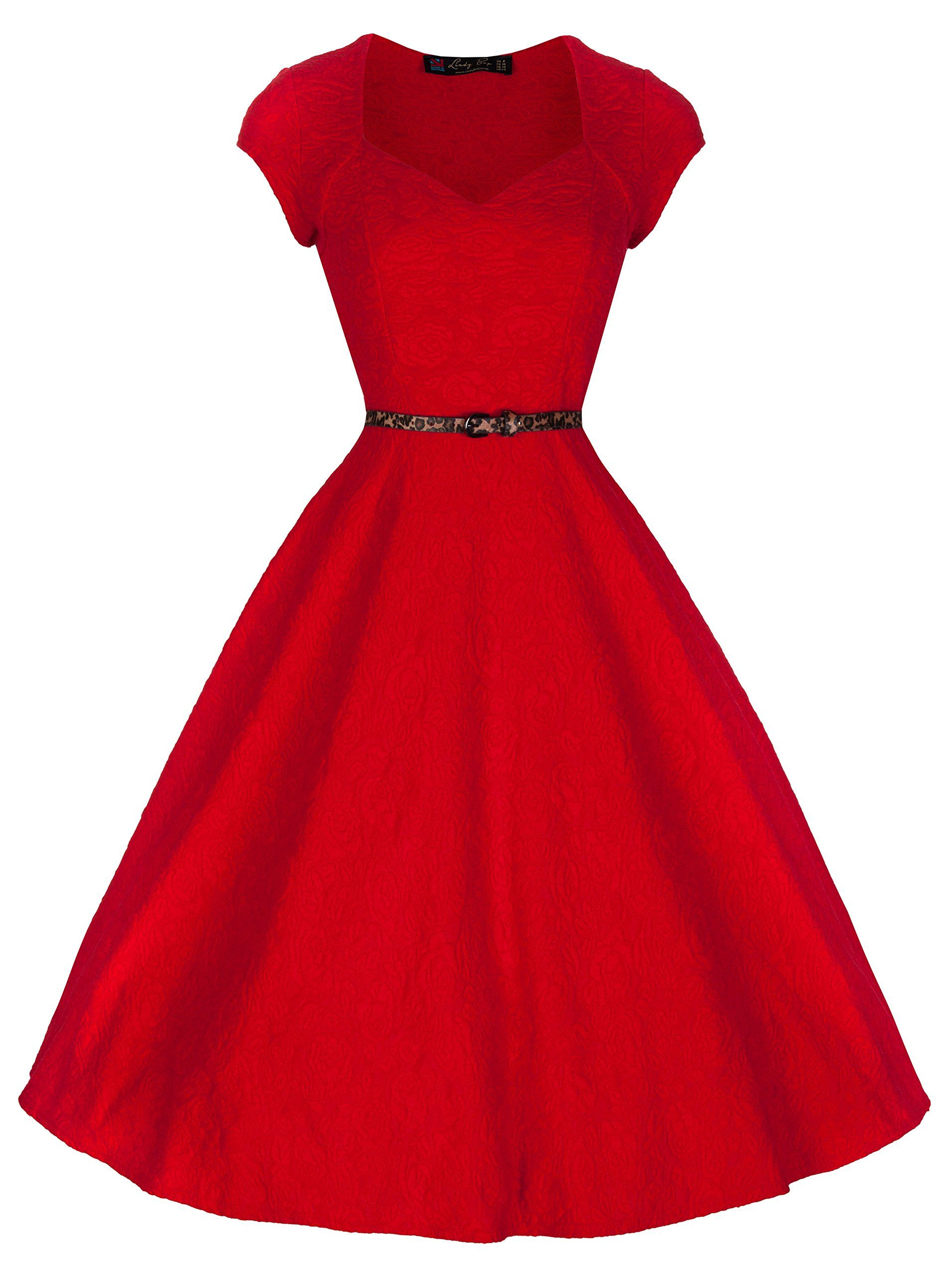 Vintage Red 50s Rockabilly Bridesmaid Lace Swing Cocktail Retro Dress Plus