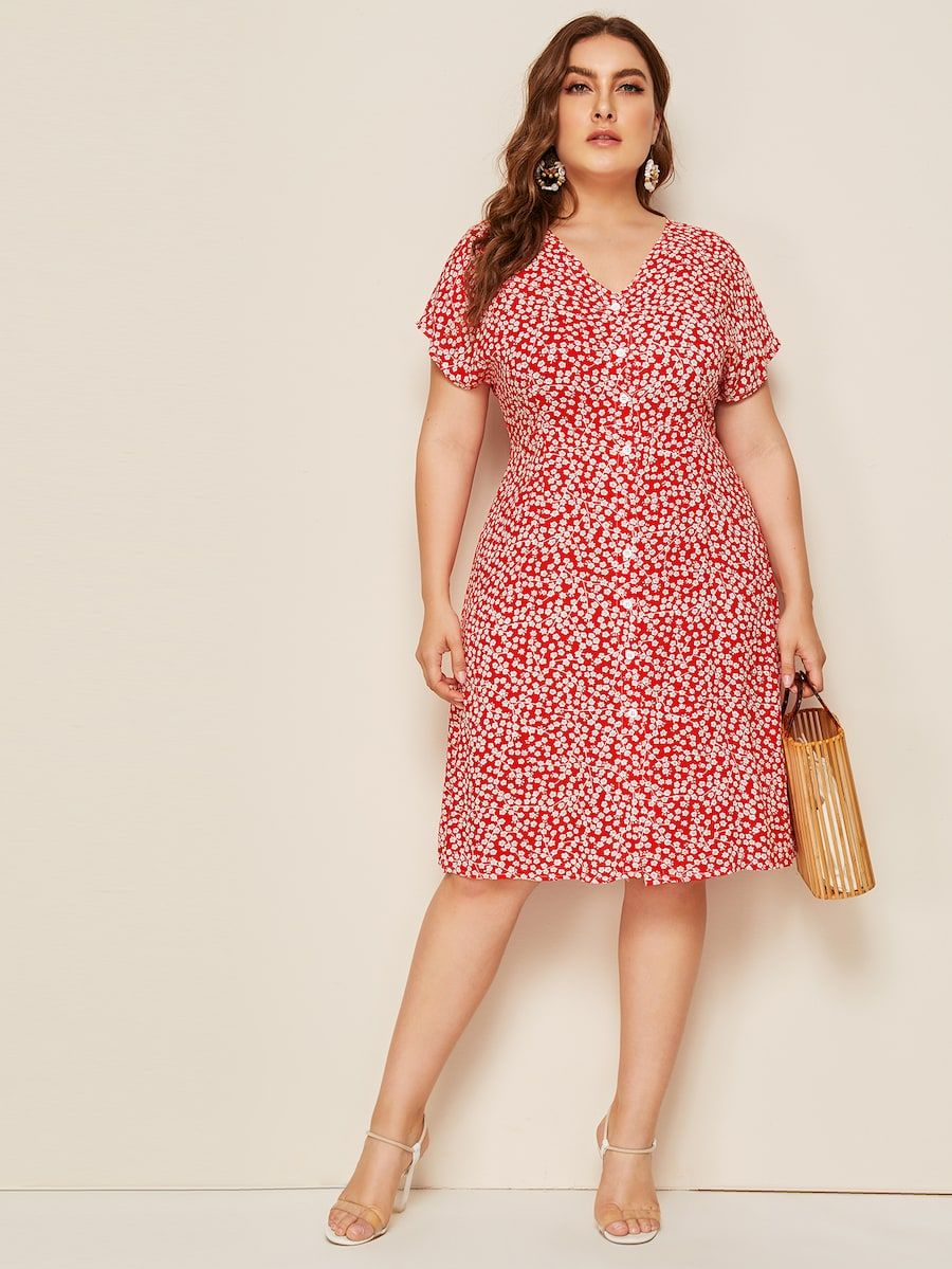 Cheap plus single breasted ditsy floral dress for sale