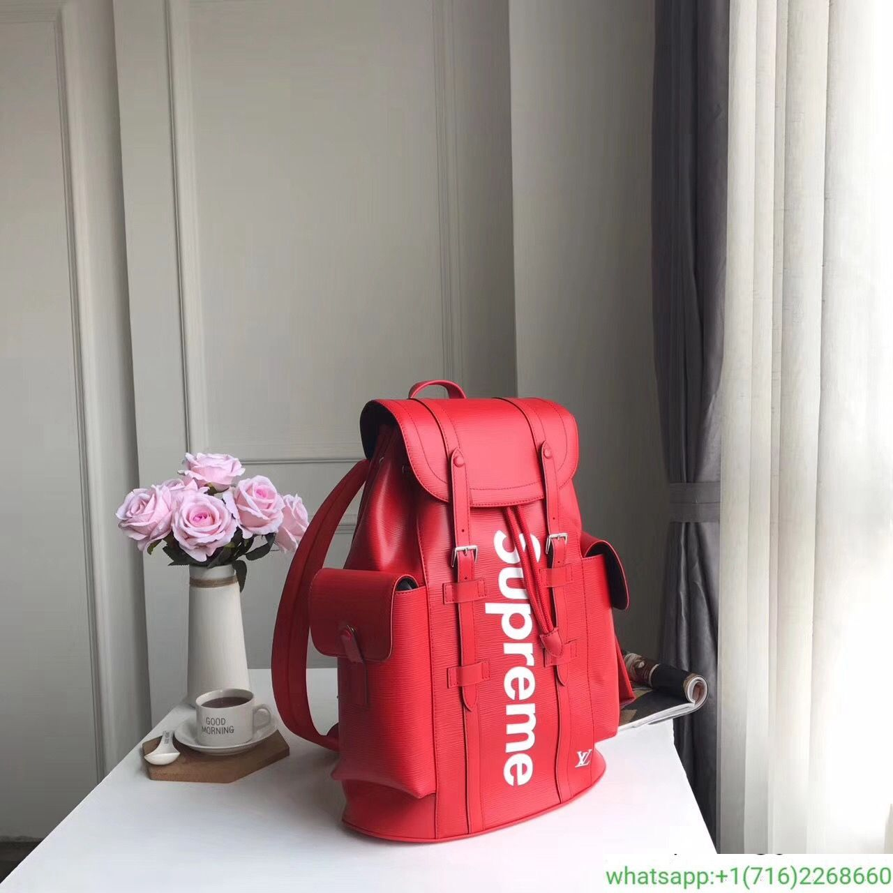 Louis Vuitton x Supreme Christopher Backpack Epi PM Red  370  da90316221418