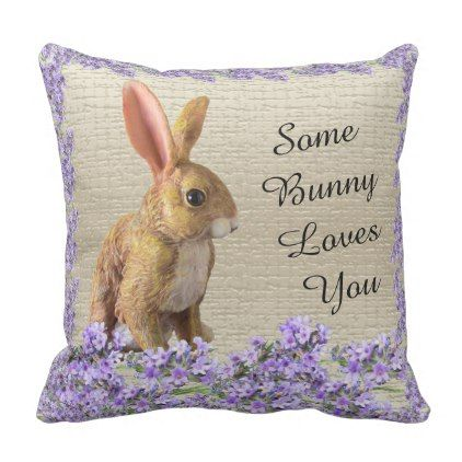 Easter bunny rabbit spring lavender cushion pillow easter bunny rabbit spring lavender cushion pillow home gifts cool custom diy cyo negle Images