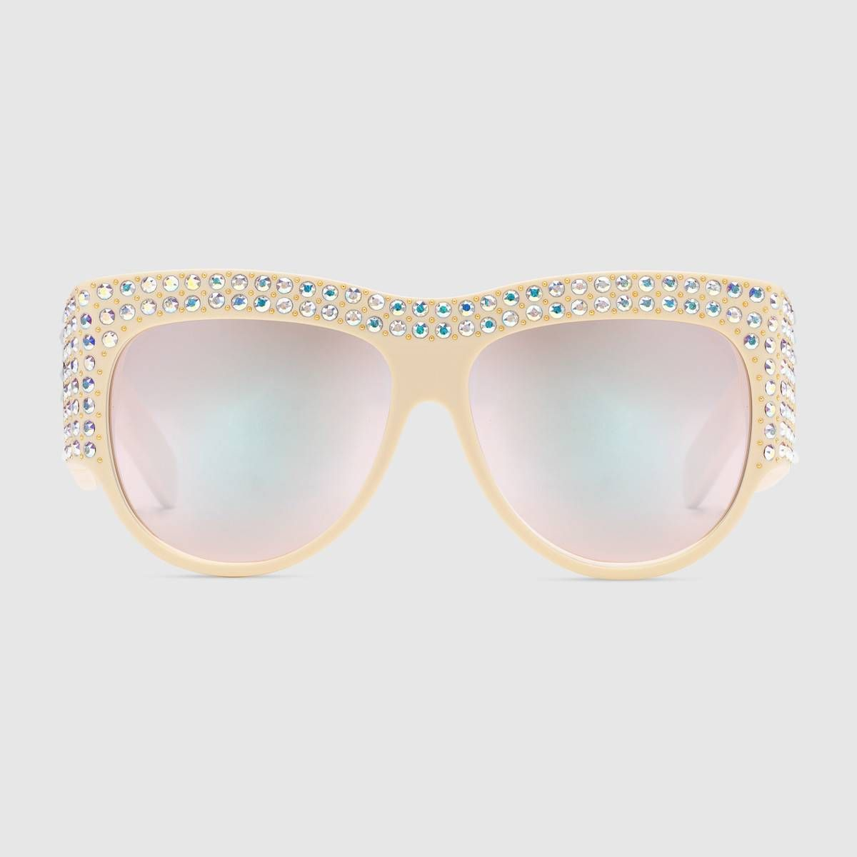 cf21eac996 Oversize sunglasses with crystals in Ivory acetate frame with hand-applied  iridescent crystals and micro studs
