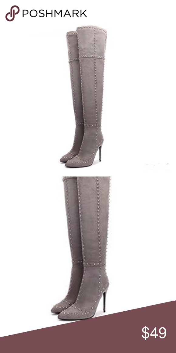 d8b5746108e8 Over the knee boots Faux suede studded over the knee boots Shoes Over the Knee  Boots