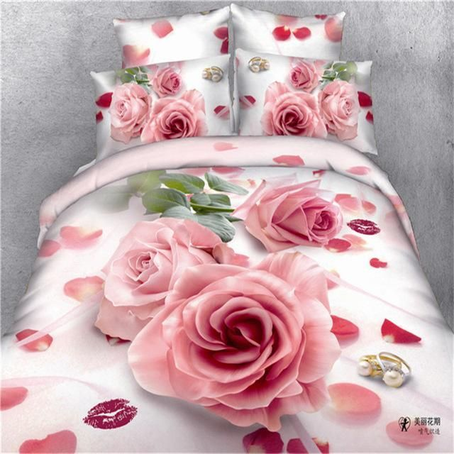 3d Wedding Bedding Set 4pc Red Rose Flower Bed Linen Including Duvet Cover  Flat Sheet Pillowcases