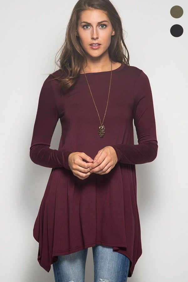 ee4796c4310e6 A classic staple to add to your fall winter wardrobe. This burgundy tunic  top will go with most anything in your closet!