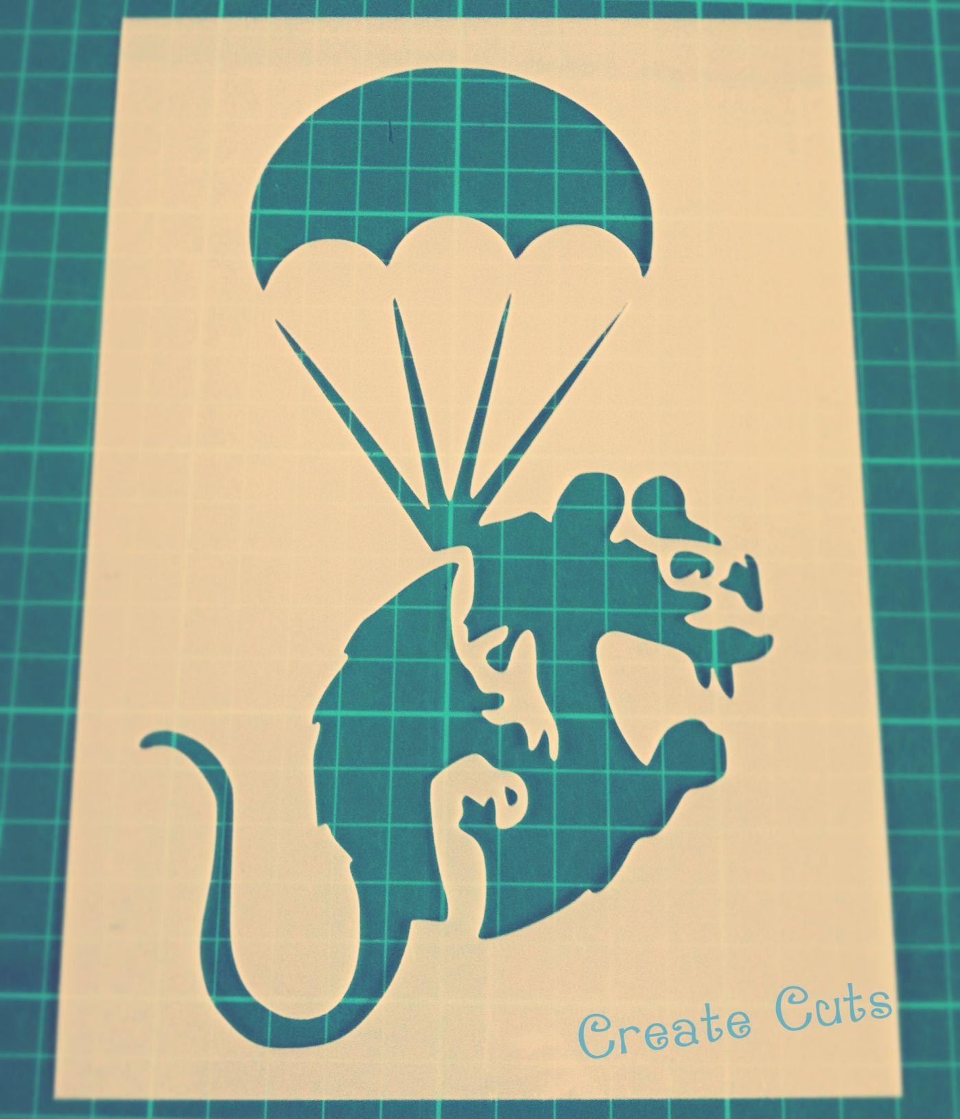 Banksy Parachute Rat Stencil   Banksy, Stenciling and Parachutes