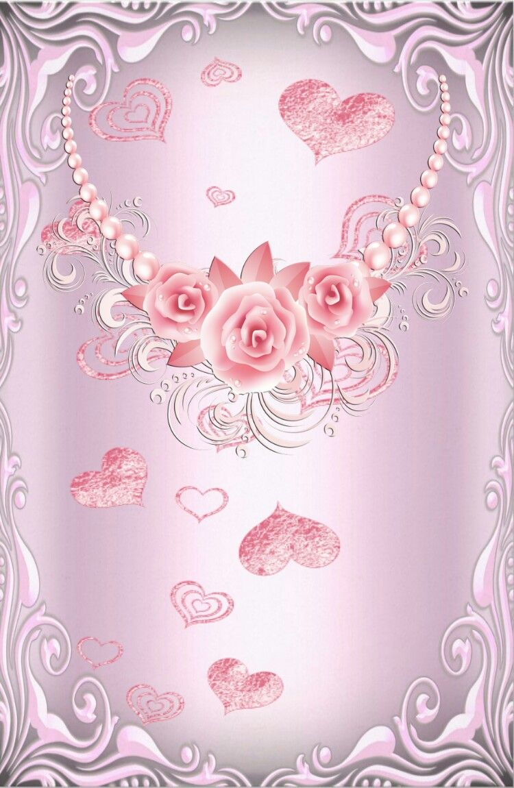 Pink Roses On Silver Wallpaper By Artist Unknown Flower