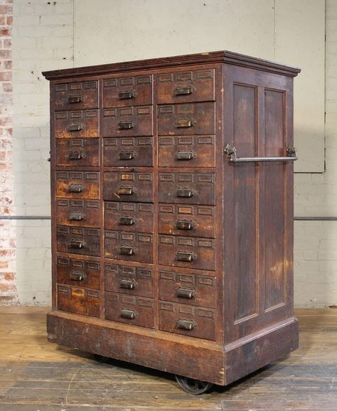Rolling Apothecary Wood Storage Cabinet Vintage Industrial With Brass Hardware 2 Wood Storage Cabinets Vintage Industrial Decor Vintage Industrial Furniture