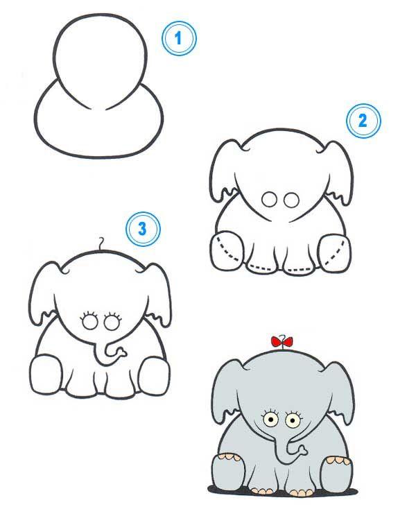 Cómo Dibujar Un Elefante De Dibujos Animados Cómo Dibujar