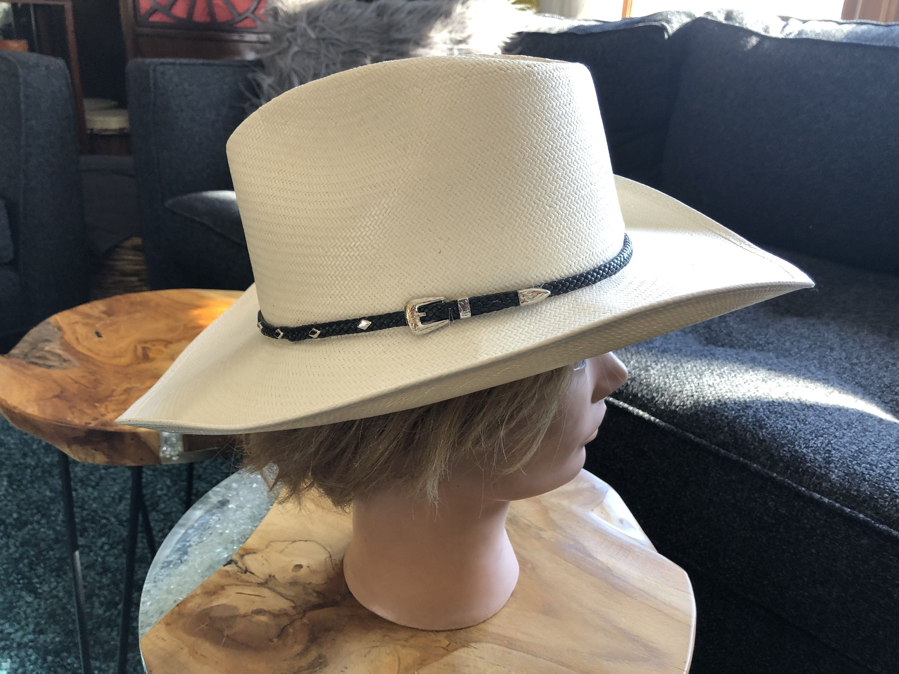 Vintage Stetson Cowboy Western Hat Authentic X S Genuine Shantung Panama Made In Usa Size 7 Cattleman Crown Straw Leather Band Silver Accent Western Cowboy Hats Western Hats Leather Band