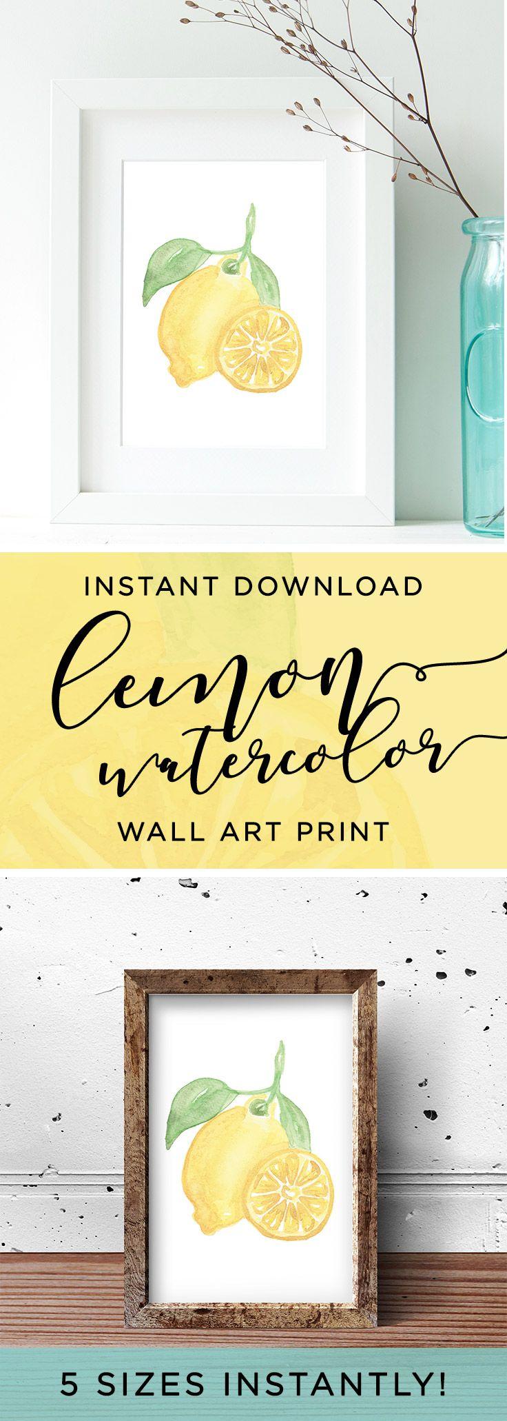 INSTANT DOWNLOAD | $5 Watercolor Lemon Art Print, Lemon Kitchen Wall ...