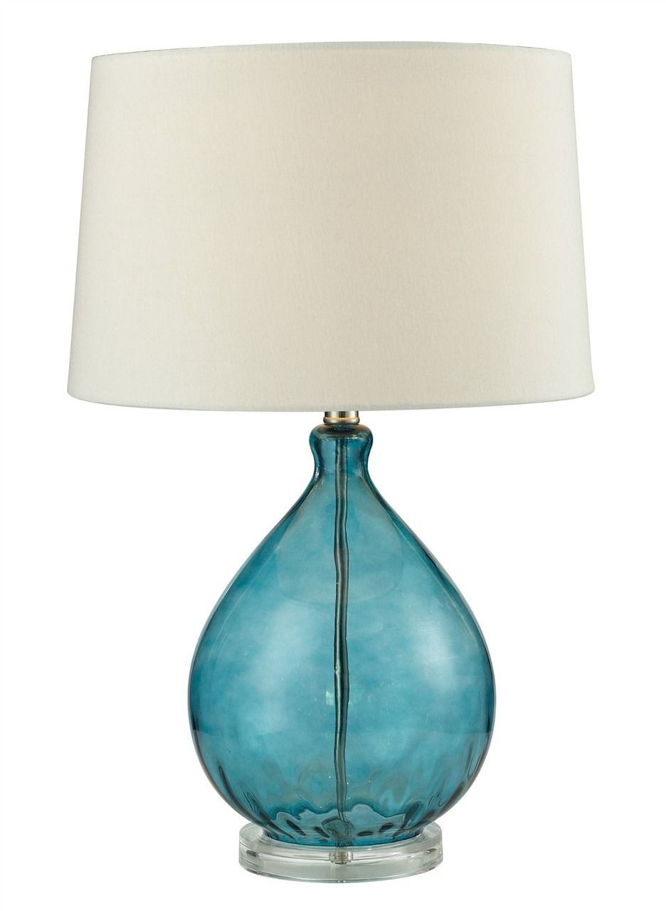 Teal Blue Blown Glass Lamp Teal Lamp Blue Table Lamp