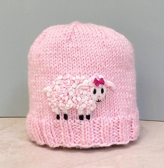 61393204728 Newborn Baby Girl Pink Hat with Embroidered Sheep