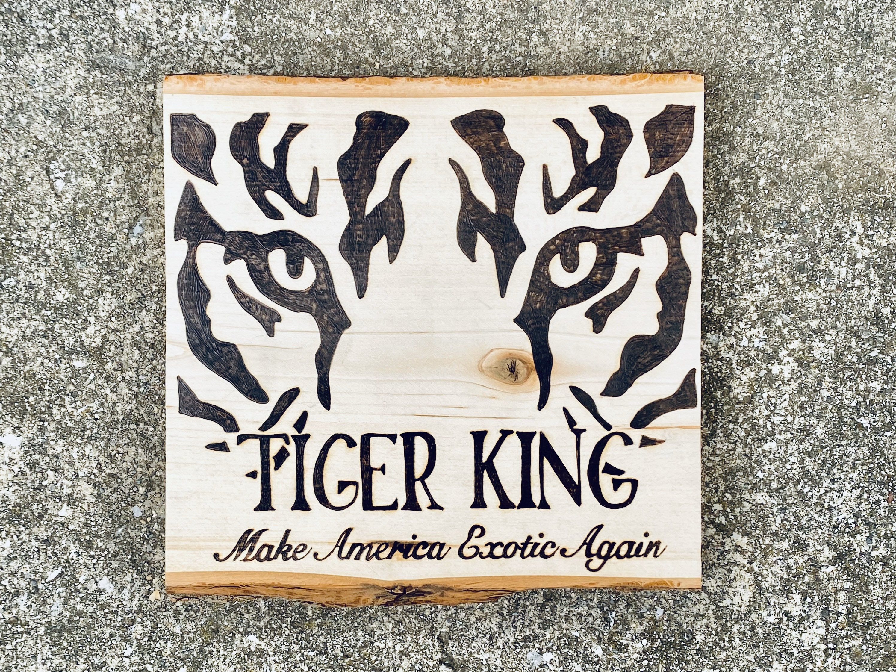 Tiger King Wood Burned Sign, Make America Exotic Again, Gift for Cat Lovers, Funny Home Decor Gift