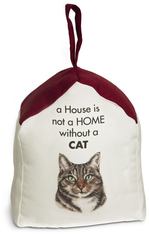 Tabby Cat 5 X 6 Door Stopper With Dark Red Roof Waggy Dogz