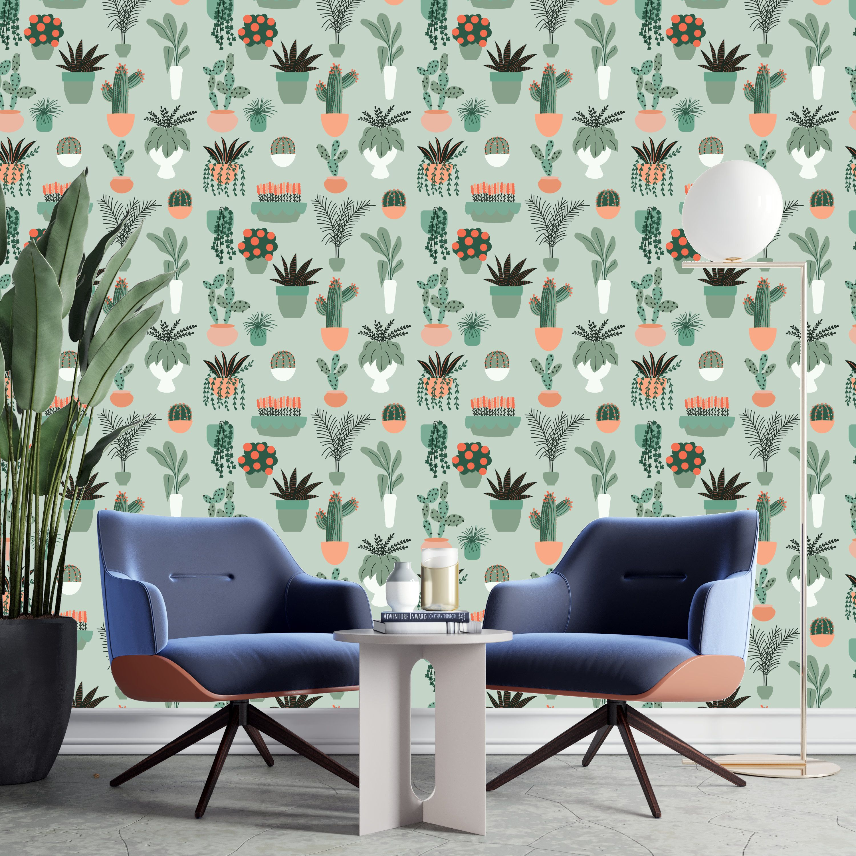 Removable Green Cactus Floral Peel And Stick Wallpaper Etsy Home Wallpaper Floral Wallpaper Textured Walls