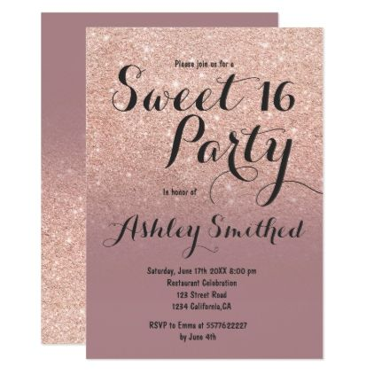 Modern Dusty Rose Gold Glitter Ombre Sweet 16 Birthday Party