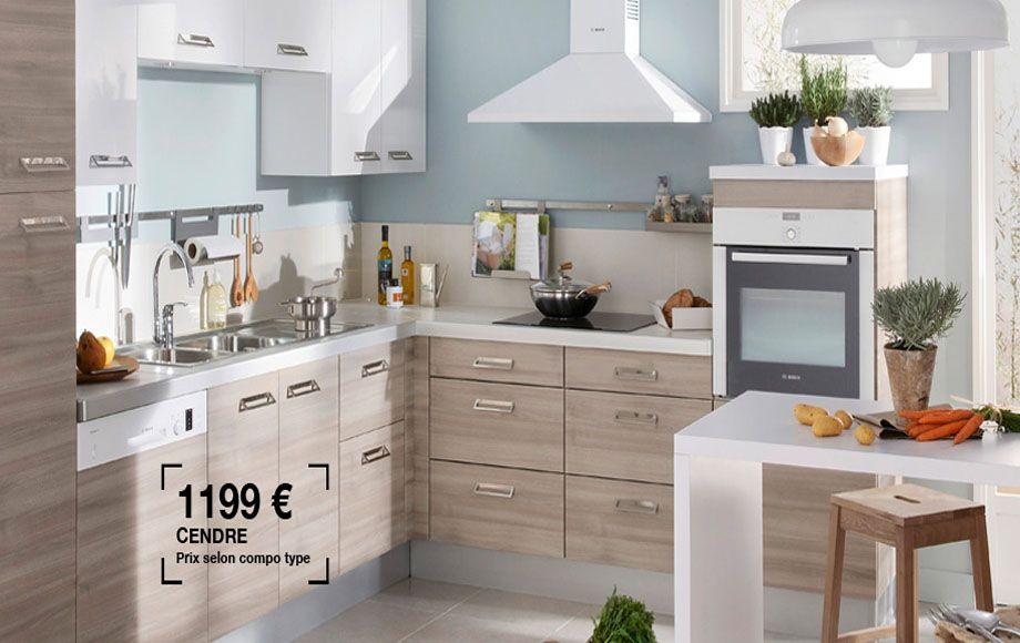 cuisine ecorce couleur cendr tr s sympa avec plan de travail en gris 1199 lapeyre. Black Bedroom Furniture Sets. Home Design Ideas
