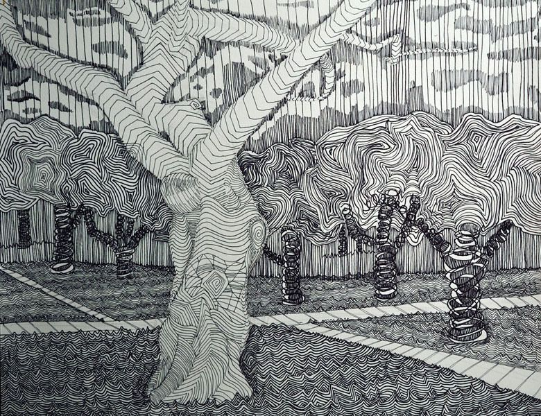 Line Drawing Grass : Texture this pen drawing uses invented the surfaces of