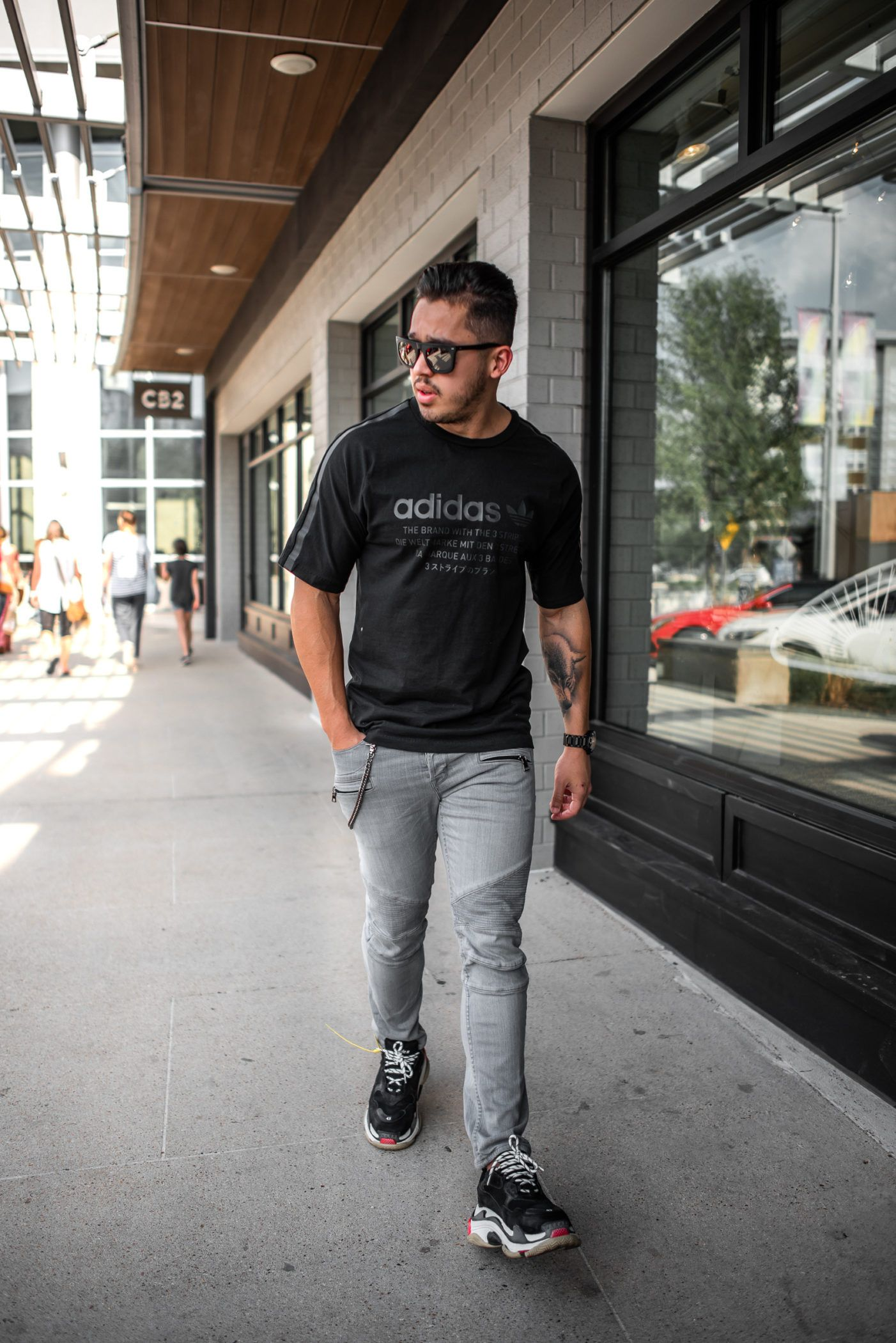 men's adidas street style with balenciaga triple s