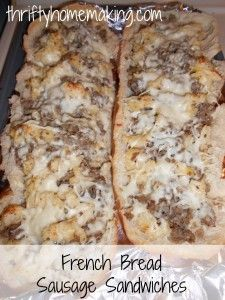 French bread sausage sandwiches