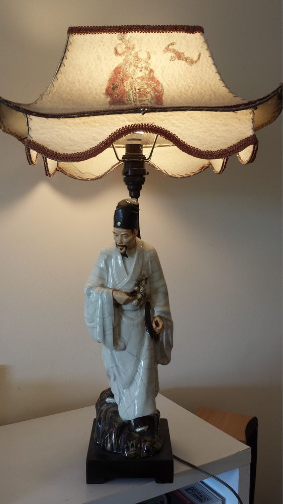 Antique Chinese Figurine Lamp From A