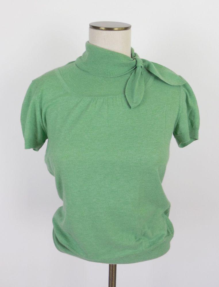 NEW Banana Republic Cashmere Angora Short Sleeve Sweater Wear to Work Green P S #BananaRepublic #KnitTop #Career
