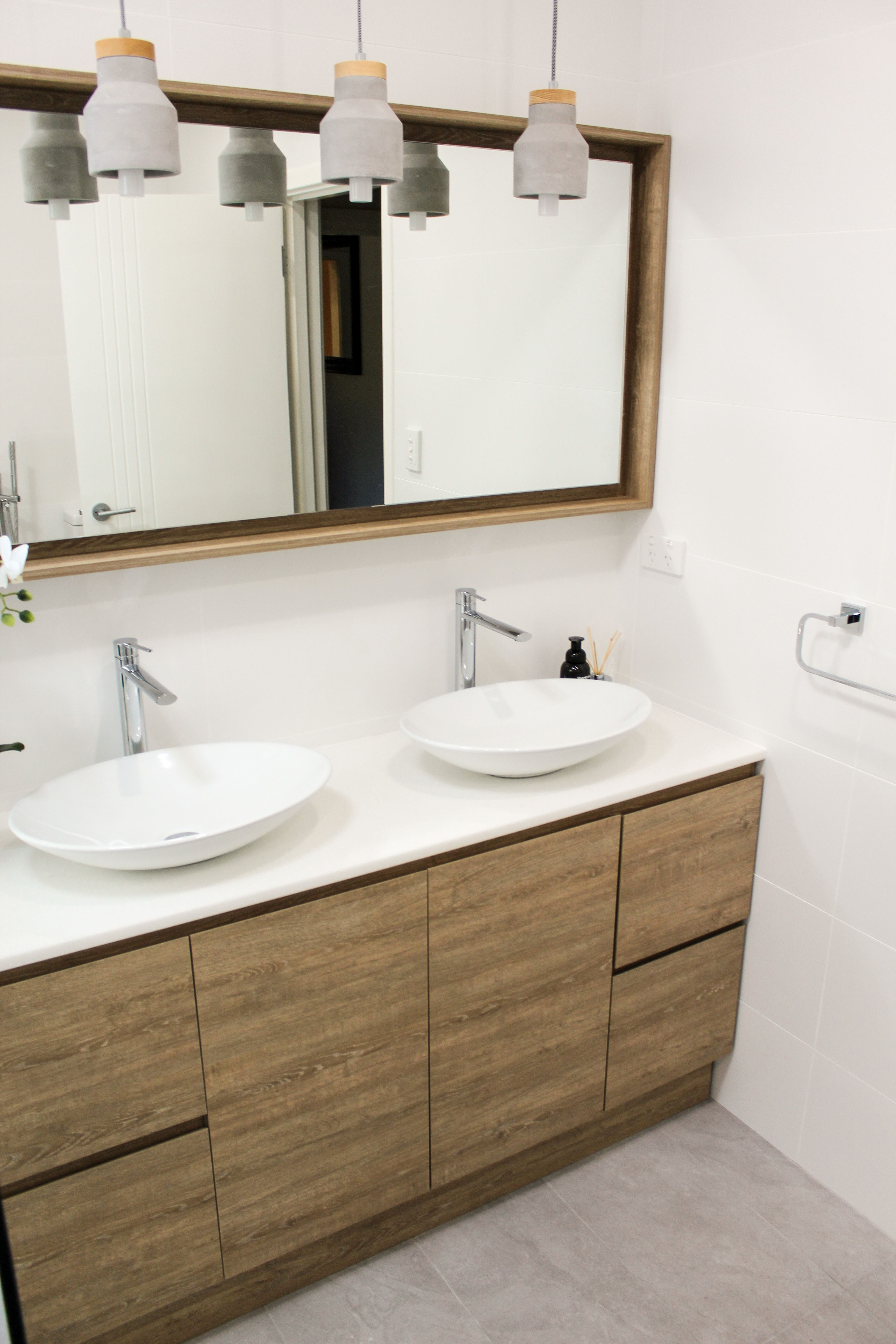 Wood Grain Vanity - Wood Vanity and Mirror Combo - Double Vanity ...
