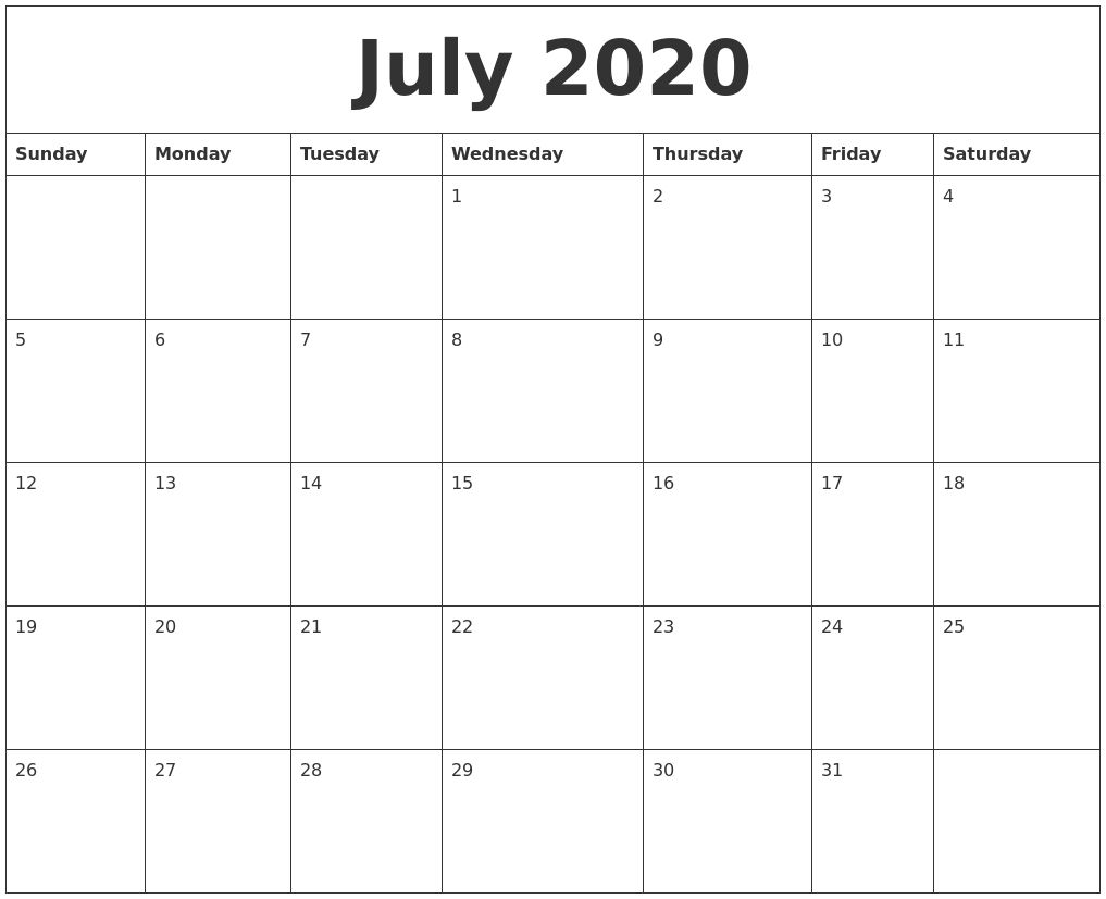 Free July Calendar 2020 Printable Templates With Holidays June