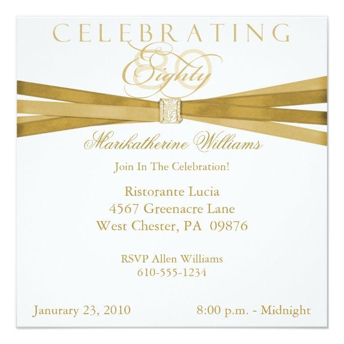 Elegant 80th Birthday Party Invitations 525 Square Invitation Card
