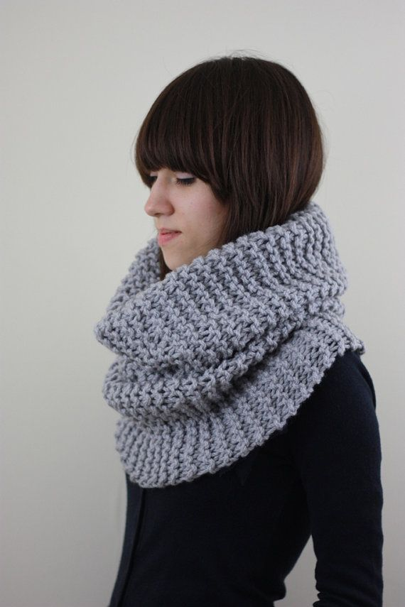 Hand Knit Cowl Scarf Womens Knitted Cowl Scarf Mens Cowl by zukas ...